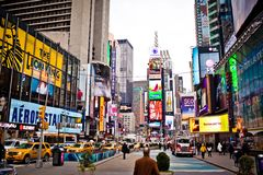 Times Square at morning. Featured with Broadway Theaters is a symbol of New York City and the United States, January 6, 2011 in Manhattan, New York City stock images