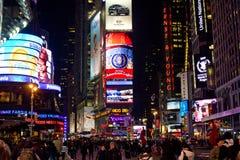 Times Square na noite, New York City Foto de Stock Royalty Free