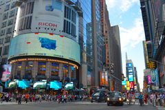 Times Square at 42nd Street. Times Square in New York City with large bill boards Stock Photo