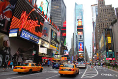 Times Square New York. Busy street and billboard of Times Square in New York City, New York, USA stock photo
