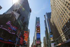 Times Square, New York. New York, America - April 26, 2014. Times Square, featured with Broadway Theaters and animated LED signs, is a symbol of New York City stock photography