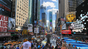 Times Square in New York Cirty. Large crowds gather at the north end of in Times Square New York, New York stock image