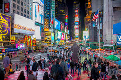 Times Square New York. New York City -April 8: Times Square, featured with Broadway Theaters and animated LED signs, is a symbol of New York City and the United Stock Photography