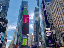 Times Square in New York City. Times Square Buildings and advertising signage on buildings in New York City royalty free stock image