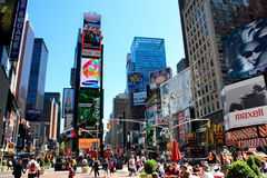 Times Square New york city. Crowded Times Square in the heart of Manhattan royalty free stock photos