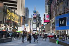 Times Square in New York City. NEW YORK CITY, USA – APRIL 2018: Traffic and billboards on Times Square in Manhattan, New York City, USA stock photos