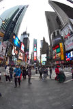 Times Square in New York City, NY USA - Fisheye Royalty Free Stock Photos