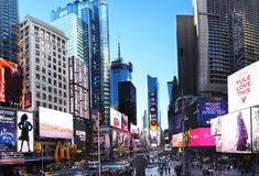 Times Square. New York City, NY, USA: 20 December 2015: Times Square with its neon lights is a landmark of the New York City royalty free stock photos