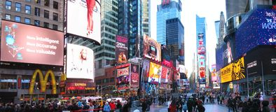 Times Square. New York City, NY, USA: 20 December 2015: Times Square with its neon lights is a landmark of the New York City stock photography