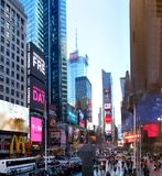 Times Square. New York City, NY, USA: 20 December 2015: Times Square with its neon lights is a landmark of the New York City stock images