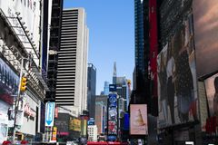 Times Square in New York City. NEW YORK CITY, USA – APRIL 2018: Traffic and billboards on Times Square in Manhattan, New York City, USA royalty free stock photos