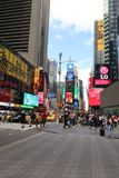 Times Square, New York City. A view of Times Square buildings and pedestrians in midtown Manhattan stock photo