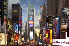 Times square in New York at dusk. New York time square nearing dusk Stock Photos