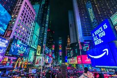 Times Square, New York, EUA, o 16 de outubro de 2018 foto de stock royalty free