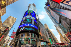 Times Square in New York. The headquarters of the NASDAQ Stock Exchange, the second largest trading market in the world, in Times Square in New York, New York stock photos