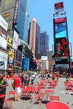 Times Square. NEW YORK - JULY 7: People visit Times Square on July 7, 2013 in New York. Times Square is one of most recognized landmarks in the world. More than royalty free stock images