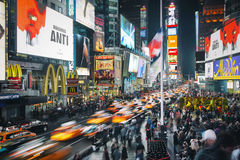 Times Square, New York. Long exposure over times square, new york city Stock Photo
