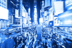 Times Square in New York with motion effect. View of Times Square at night in New York City with motion effect stock image