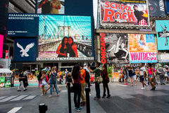 Times Square. New York, NY: August 28, 2016: New York Times Square large LED signs/billboards. On an average day, 360,000 people visit Times Square Stock Photo