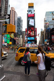 Times Square. New York, NY: August 28, 2016: New York Times Square large LED signs/billboards. On an average day, 360,000 people visit Times Square Royalty Free Stock Image