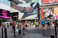 Times Square. New York, NY: August 28, 2016: New York Times Square large LED signs/billboards. On an average day, 360,000 people visit Times Square Stock Image