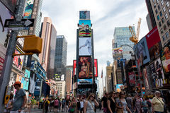 Times Square. New York, NY: August 28, 2016: New York Times Square large LED signs/billboards. On an average day, 360,000 people visit Times Square Stock Images
