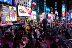 Times Square. New York, NY: August 28, 2016: New York Times Square large LED signs/billboards. On an average day, 360,000 people visit Times Square Royalty Free Stock Photography