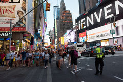 Times Square. New York, NY: August 27, 2016: New York Times Square large LED signs/billboards. On an average day, 360,000 people visit Times Square Stock Photography