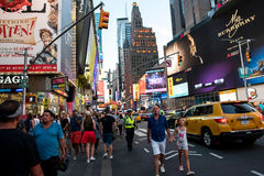 Times Square. New York, NY: August 27, 2016: New York Times Square large LED signs/billboards. On an average day, 360,000 people visit Times Square Stock Images