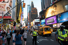 Times Square. New York, NY: August 27, 2016: New York Times Square large LED signs/billboards. On an average day, 360,000 people visit Times Square Royalty Free Stock Photos