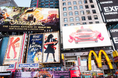 Times Square. New York, NY: August 27, 2016: New York Times Square large LED signs/billboards. On an average day, 360,000 people visit Times Square Royalty Free Stock Image