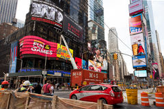 Times Square. New York, NY: August 27, 2016: New York Times Square large LED signs/billboards. On an average day, 360,000 people visit Times Square Stock Image