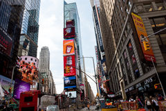 Times Square. New York, NY: August 27, 2016: New York Times Square large LED signs/billboards. On an average day, 360,000 people visit Times Square Royalty Free Stock Images
