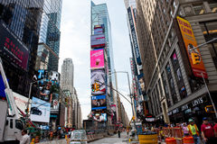 Times Square. New York, NY: August 27, 2016: New York Times Square large LED signs/billboards. On an average day, 360,000 people visit Times Square Royalty Free Stock Photo