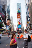 Times Square. New York, NY: August 27, 2016: New York Times Square large LED signs/billboards. On an average day, 360,000 people visit Times Square Stock Photo