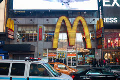 Times Square. NEW YORK, NY - MARCH 14, 2016: McDonald's at Times Square. McDonald's is an American hamburger and fast food restaurant chain royalty free stock photography