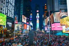 Times Square new york taken from Duffy Square royalty free stock image