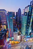 Times Square. NEW YORK, USA - JUNE 29th, 2014: Aerial view of Times Square the popular New Year's Eve destination with crowds and taxi cabs in motion in New York stock image
