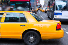 Times Square New York yellow cab daylight Stock Photo