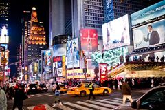 Times Square at night. Night Times Square featured with Broadway Theaters is a symbol of New York City and the United States, January 7, 2011 in Manhattan, New stock photography