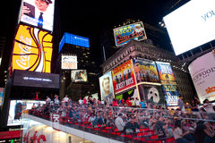 Times Square at night. Tourist in Times Square.New York City. Photo taken on July 9th,2011 royalty free stock photo