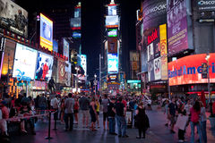Times Square at night. Tourist  in Times Square.New York City. Photo taken on July 9th,2011 Royalty Free Stock Image