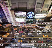 Times Square at Night. Bird's Eye View of Times Square from Above - Circa December 2011 stock photography