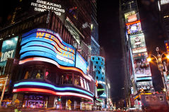 Times Square at Night New York City. The busy neon lights of Times Square displays at night Stock Photos