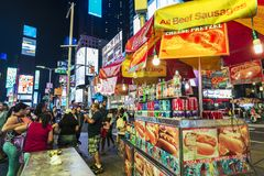 Times Square at night in New York City, USA royalty free stock photo