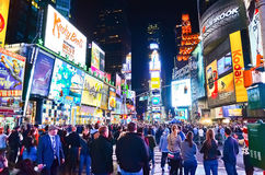 Times Square at night in New York City royalty free stock photography