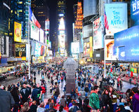 Times Square at night in New York City stock photography