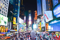 Times Square at night in New York City royalty free stock images