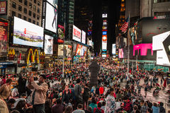 Times Square at night. NEW YORK, USA - Sep 27, 2015: Times Square at night. Streets of Manhattan. Manhattan is the most densely populated of the five boroughs of royalty free stock images