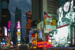Times square during night time royalty free stock photo